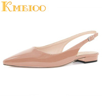 Kmeioo 2018 Hot Sale Women Shoes Pointed Toe Sandals Slingback Low Heels Buckle Drees Shoes 2.5CM