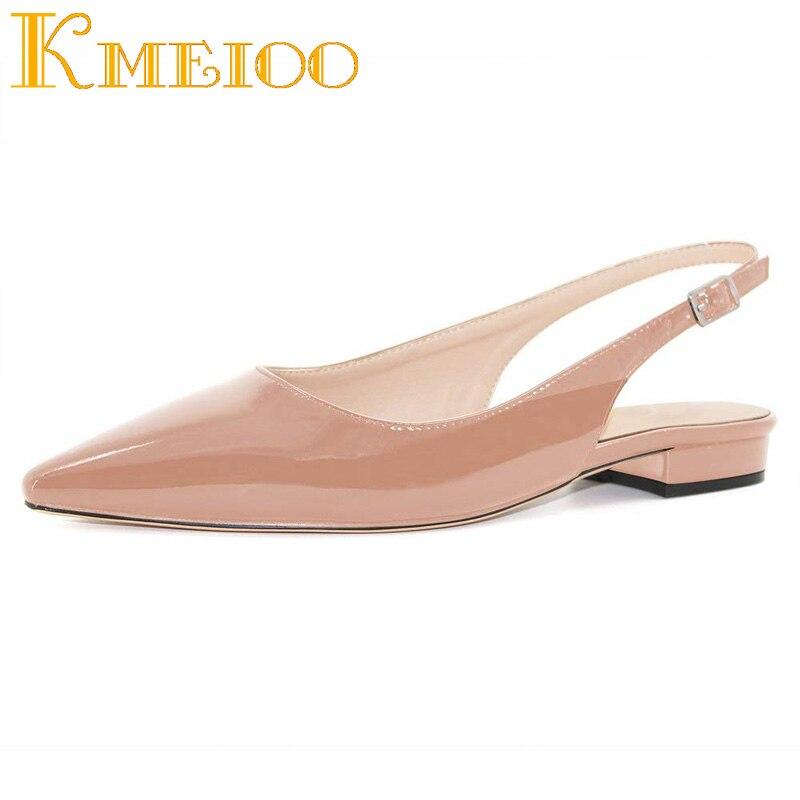 Kmeioo 2018 offre spéciale femmes chaussures bout pointu sandales Slingback talons bas boucle Drees chaussures 2.5 CM