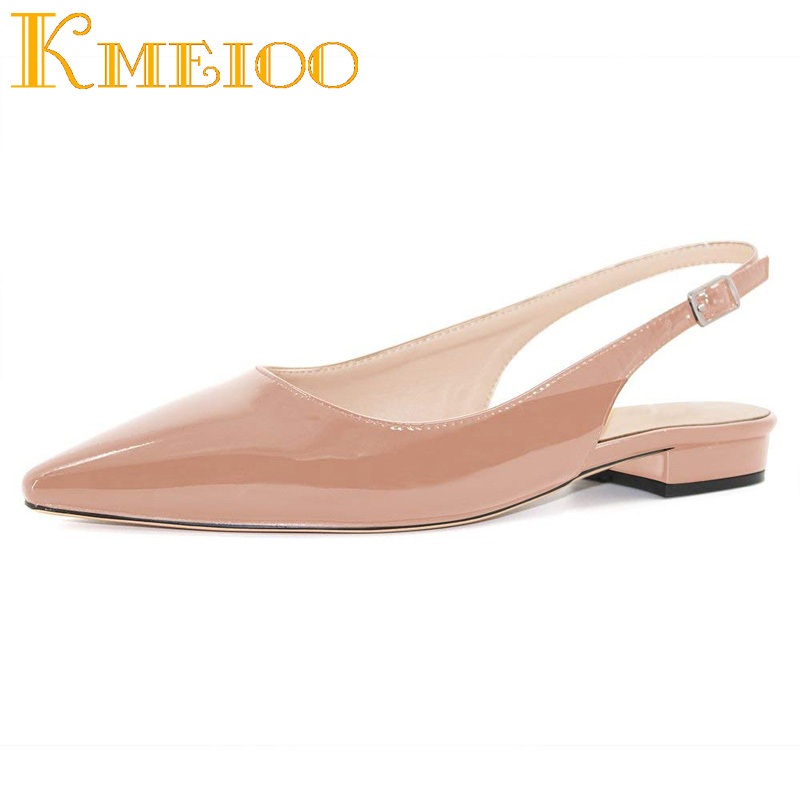 Kmeioo 2020 Hot Koop Vrouwen Schoenen Wees Teen Sandalen Slingback Lage Hakken Gesp Drees Schoenen 2.5Cm Basic Hakken Vrouwelijke casual