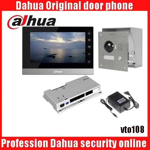 Dahua VTH1510CH Color Monitor with VTO2000A outdoor IP Metal Villa Outdoor Video Intercom sysytem with VTO108