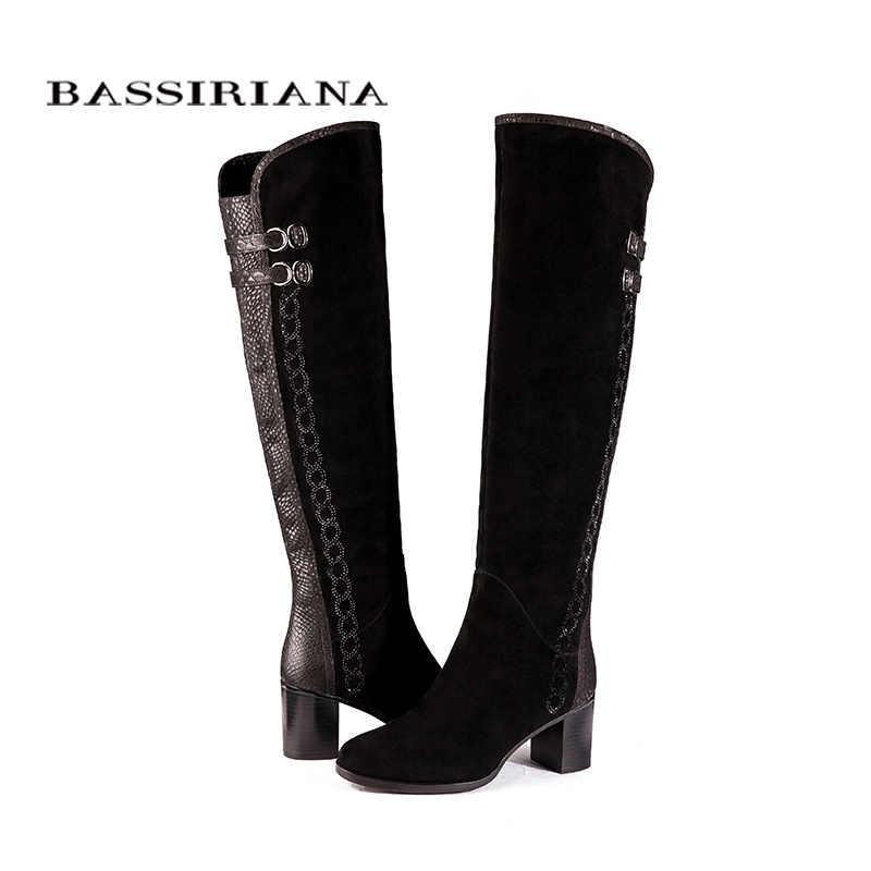 มากกว่าที่หัวเข่าหนังแท้บู๊ทส์ผู้หญิงรองเท้าฤดูหนาวผู้หญิงสีดำหนังซิป35-40ที่มีคุณภาพสูงจัดส่งฟรีBASSIRIANA