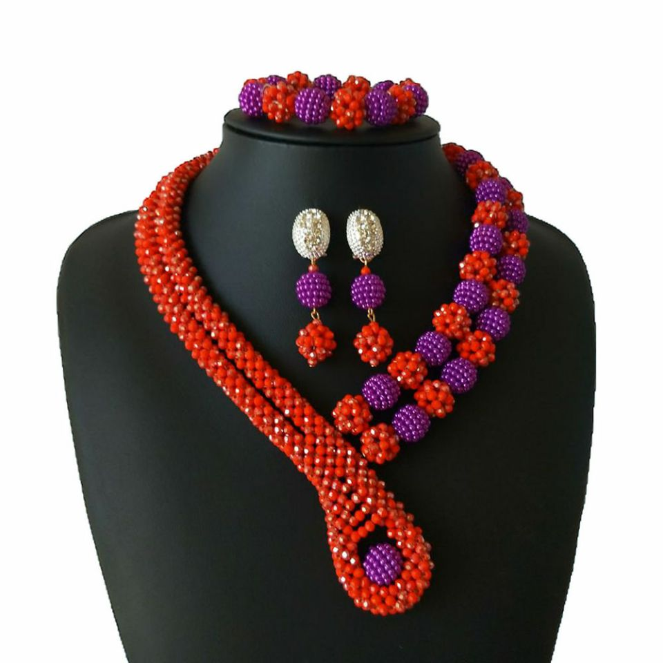 Classic African Nigeria Wedding Beads Jewelry Set Red Christmas Gifts Jewelry Necklaces Earrings Bracelets Balls Jewelery 2018