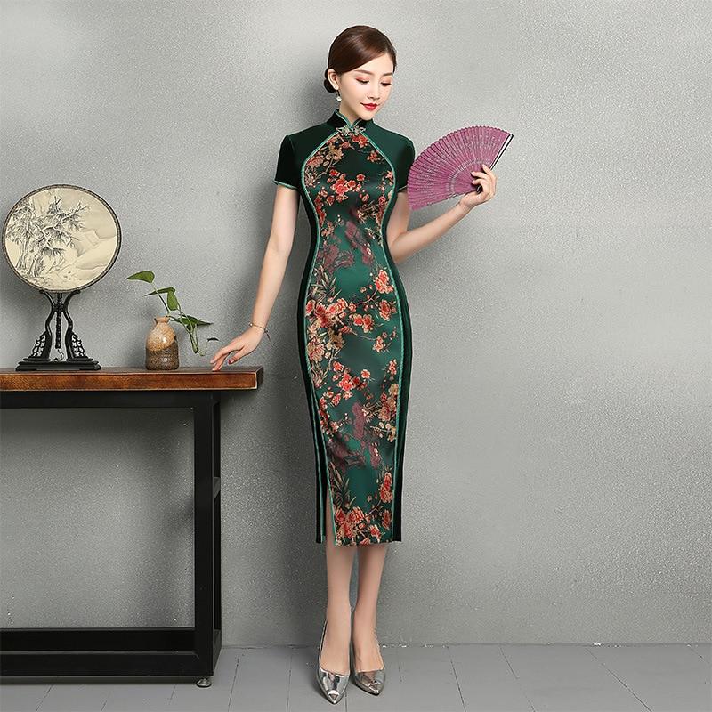 Sexy Long Velour Cheongsam 2018 Spring Traditional Chinese style Dress Womens Mandarin Collar Qipao Slim Party