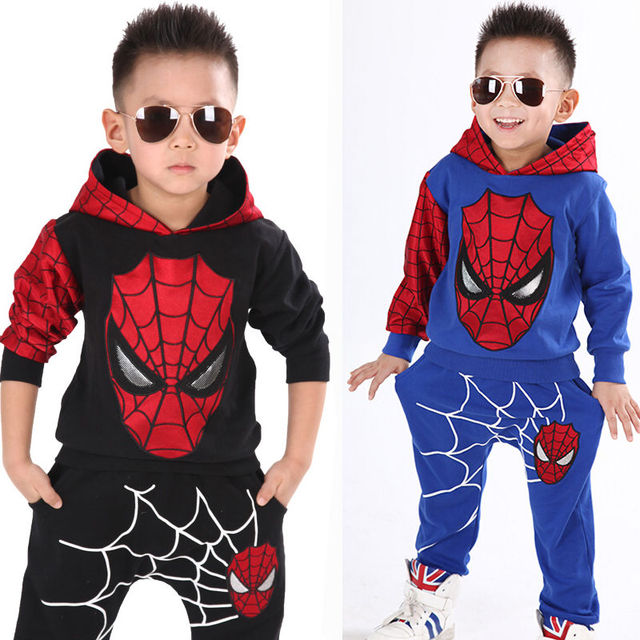 2015 Baby Kids Boys Spider-man Sweatshirt Sport Tracksuits 2pcs Outfit Sets 2-7 children clothing set
