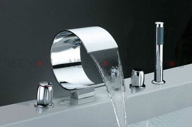 Luxury Waterfall  Faucets 5 holes bathroom mixer with shower cold and hot Bathtub water tap 02736B