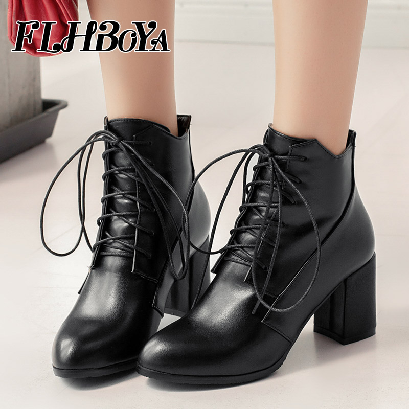 FLHBOYA Winter Women Square Equestrian Ankle Boots Solid High Hoof Heels Martin Shoes Pointed Toe Cross-tied Ladies Riding Boots big size ankle boots sexy high heels cross tied martin boots lace up leather boots woman pointed toe ladies women winter boots