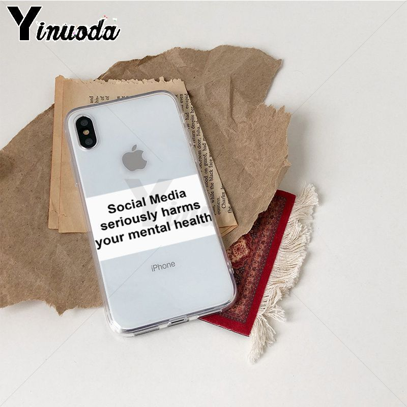 Image 2 - Yinuoda Social Media seriously harms your mental Pattern TPU Soft Case for iPhone X XS XR XSMax 6 6S 7 7plus 8 8Plus Xs 5 5s-in Half-wrapped Cases from Cellphones & Telecommunications