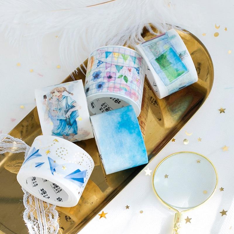 1 Pcs Kawaii sailor suit girl paper plane photo wall blue sky travel Decoration Washi Tape DIY Planner Scrapbook Masking Tape diy sky 5 diy kawaii papelaria 3