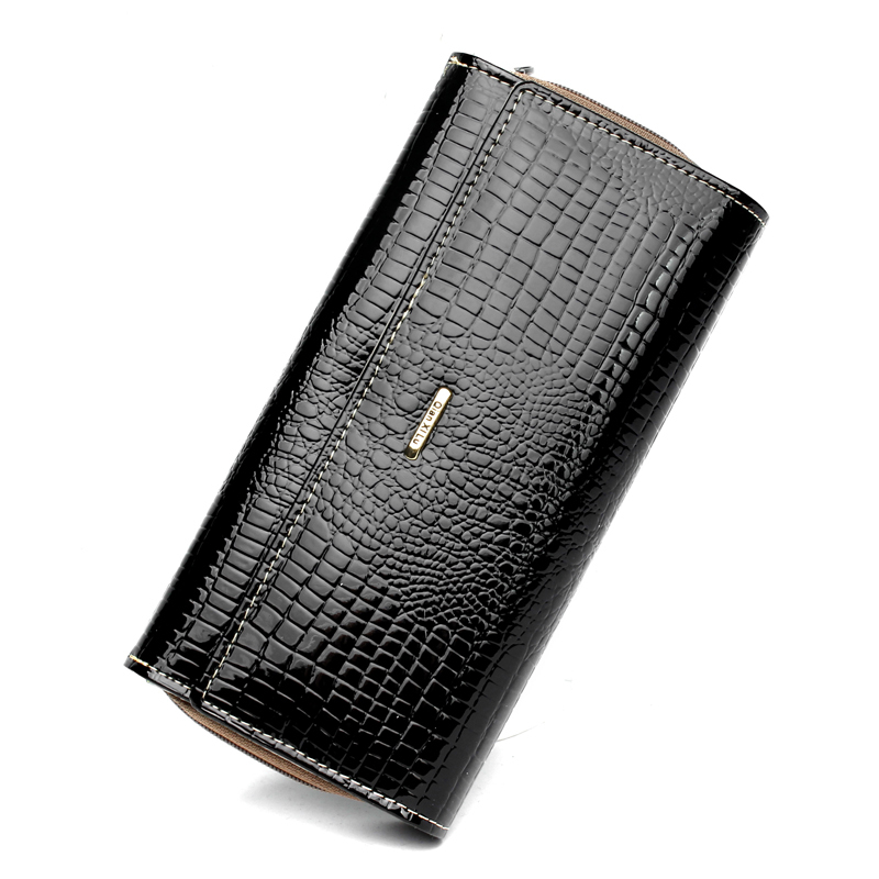 Quality Bright Leather Fashion Alligator Grain Women Wallets 3 Folds Long Purse Large Capacity Zipper Pocket Card Holder Wallet wholesale price fashion new bright pattern women wallets long zipper pocket hasp quality credit card holder wallet free shipping