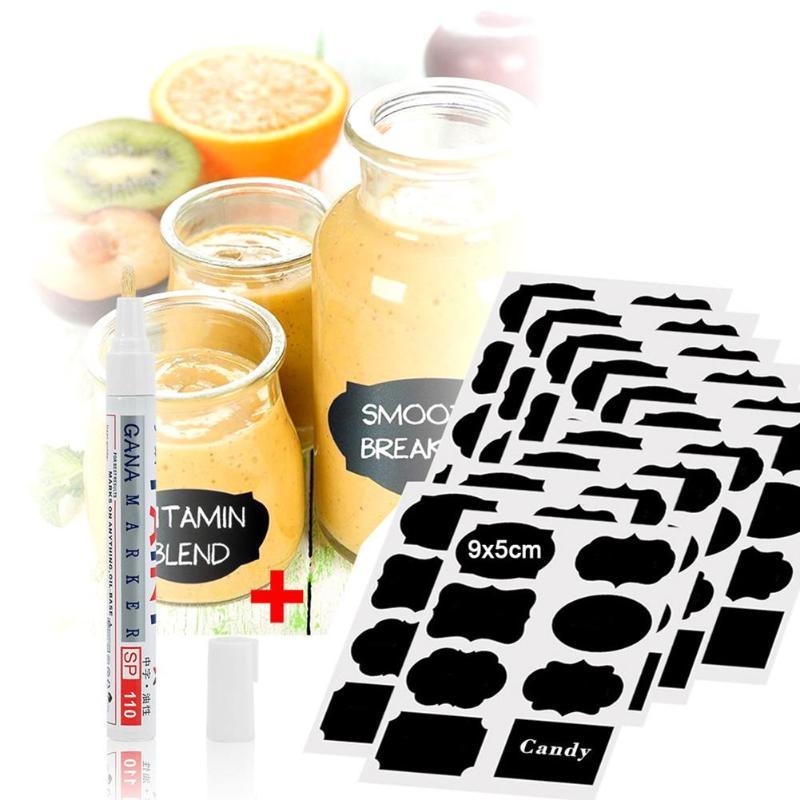 88pcs Chalkboard Labels Jar Bottle Stickers Home Kitchen Jars Blackboard Sticker Chalk board Label Organizer Tag with Marker Pen цена