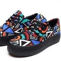 Platforms Canvas Shoes Lace Up Women Casual Shoes Mixed Colors Women Flats Comfortable Chaussure Femme Zapatos