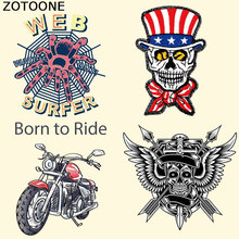 ZOTOONE Punk Skull Motorcycle Patches Iron on Heat Transfer for Kid Clothing DIY Stripes Applique T-shirt Custom Sticker