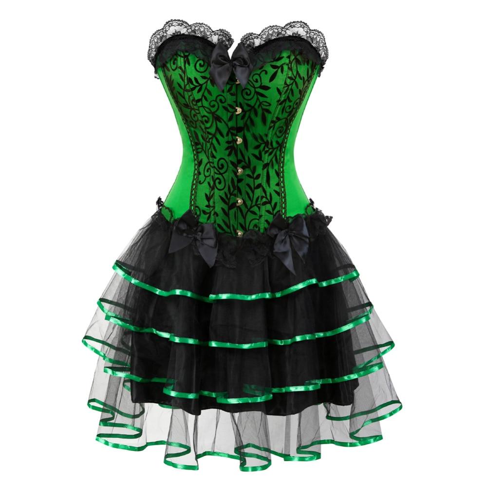 Hell 2017 Sexy Frauen Overbust Korsett Halloween-abendkleid Showgirl Mini Tutu Petticoat Karneval Kleid Kostüm Korsett