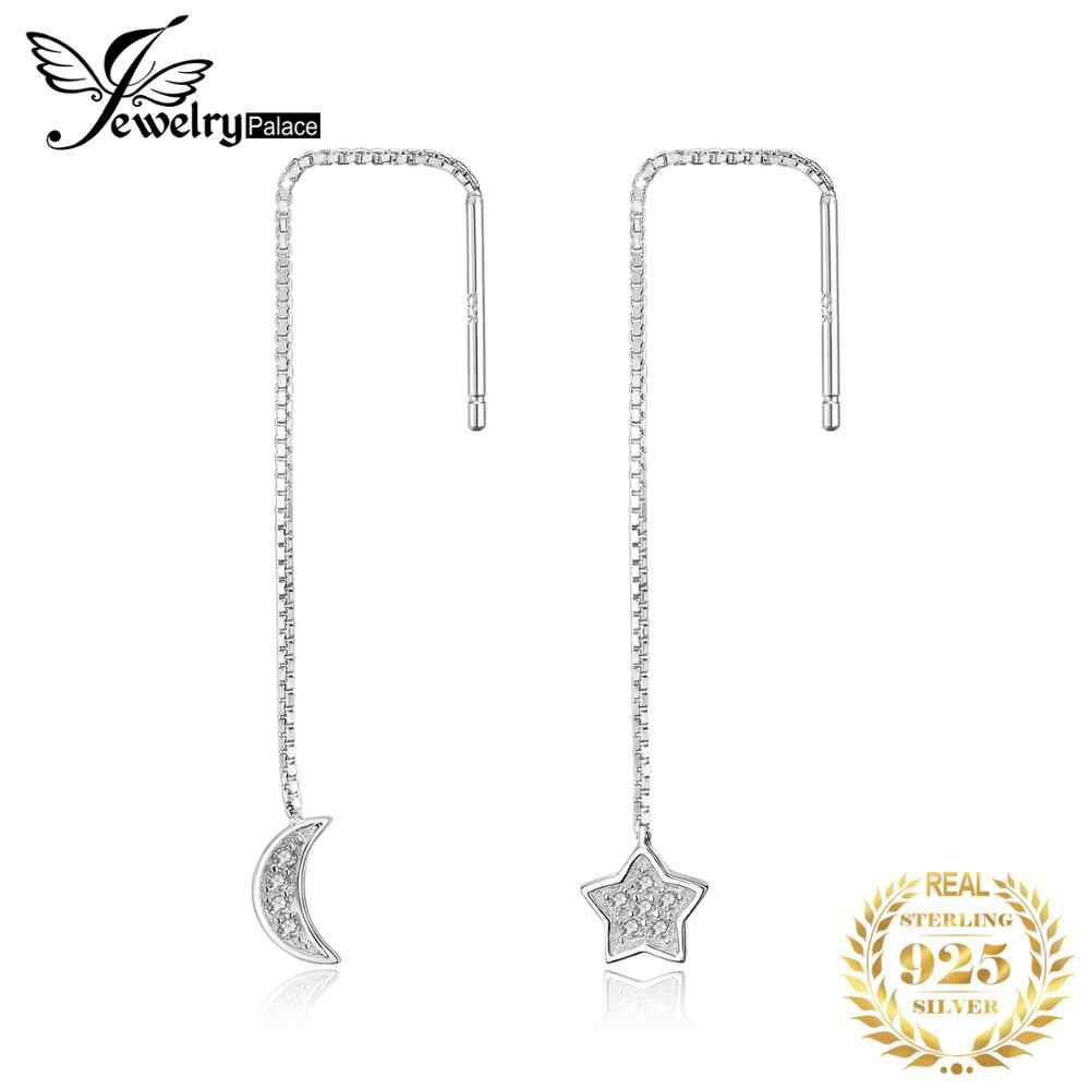 JewelryPalace Moon Star Cubic Zirconia 925 Sterling Silver  Fashion Ladies Threader Earrings  Beautiful For Woman 2018 New Hot
