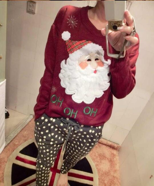 New Arrival Womens Winter embroidery flower cartoon Santa Claus snowflake round neck long sleeve sweater Christmas gift