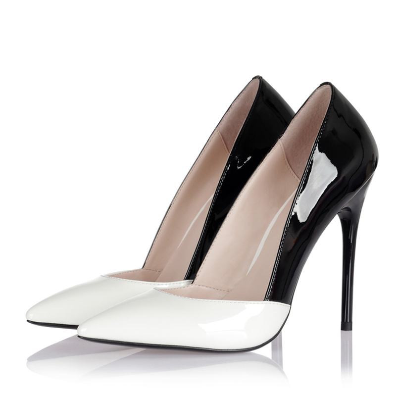 ФОТО Sexy Pumps Elegant Ladies's High Heels White Red Black Color Match Thin High Heels Pointed Toe Plus Size  10  43 Pumps