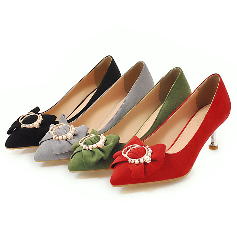 De Chaussures Noeud Partie green Aiguilles Couleur gray Perle Pompes Mariage Talons Papillon Fanyuan red Solide Bout Confortable Sexy Peu Profonde Black Pointu Lady nSwqaUWf