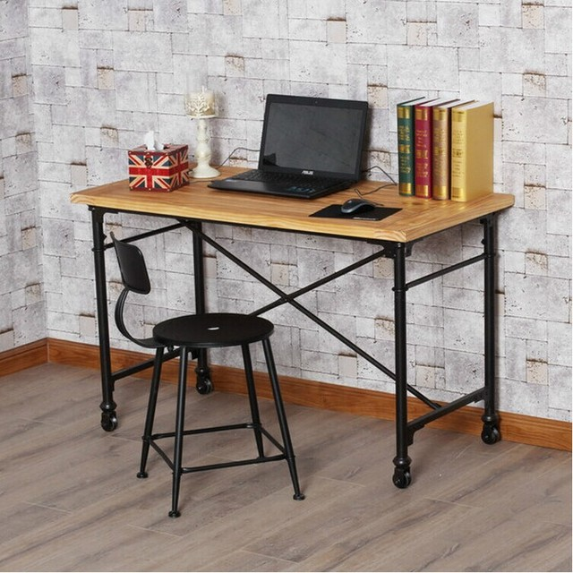 industriel am ricain de style loft bureau mobile en fer forg tables en bois simple bureau d. Black Bedroom Furniture Sets. Home Design Ideas
