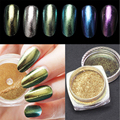 Hot Sell 2g Magic Mirror Nail Powder Classic 6 Colors Available Mirror Effect Laser Chameleon Permanent Mirror Magic Powder