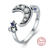 925 Sterling Silver Crescent Moon Star Open Finger Ring For Women Wedding Jewelry