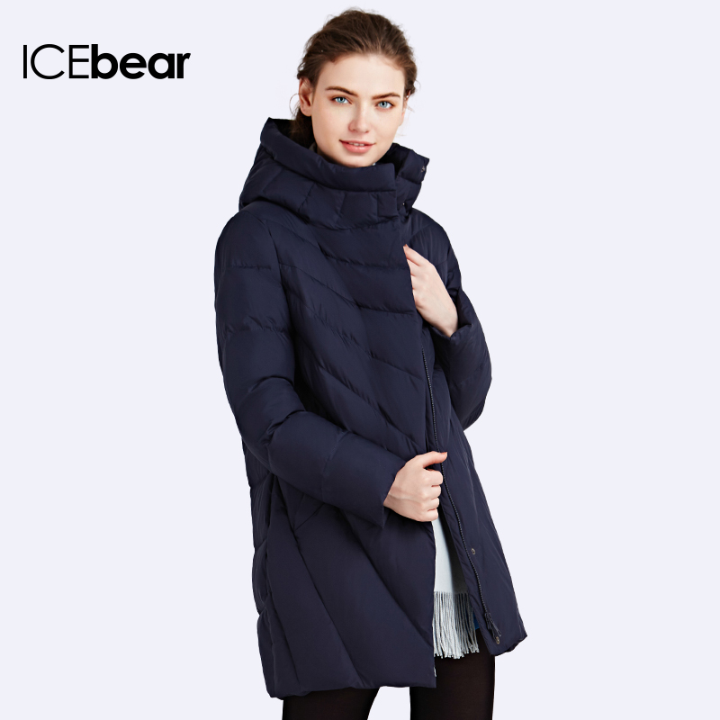 ICEbear 2016 Solid Color Long Women Winter Jacket Women Fashion Padded Coat Hooded Overcoat Women's Parka 16G6219