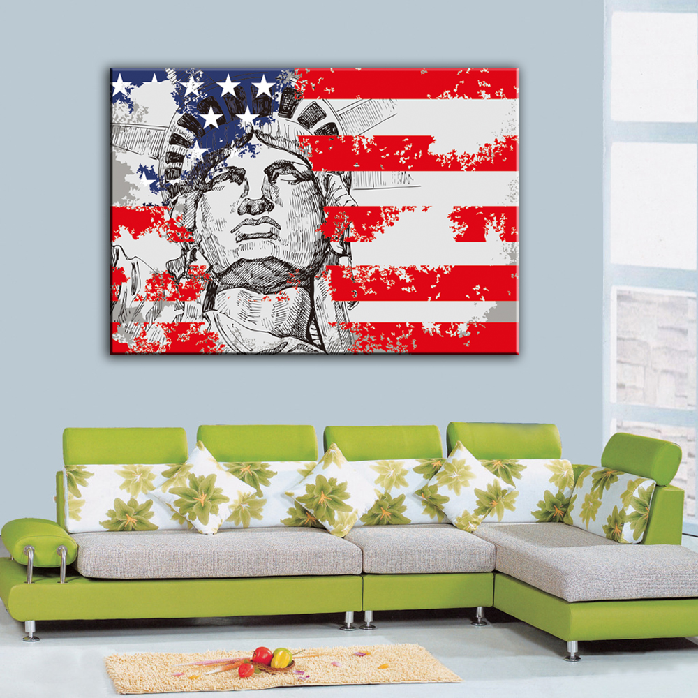 1 Piece Unframed Art Canvas Painting New York Statue of