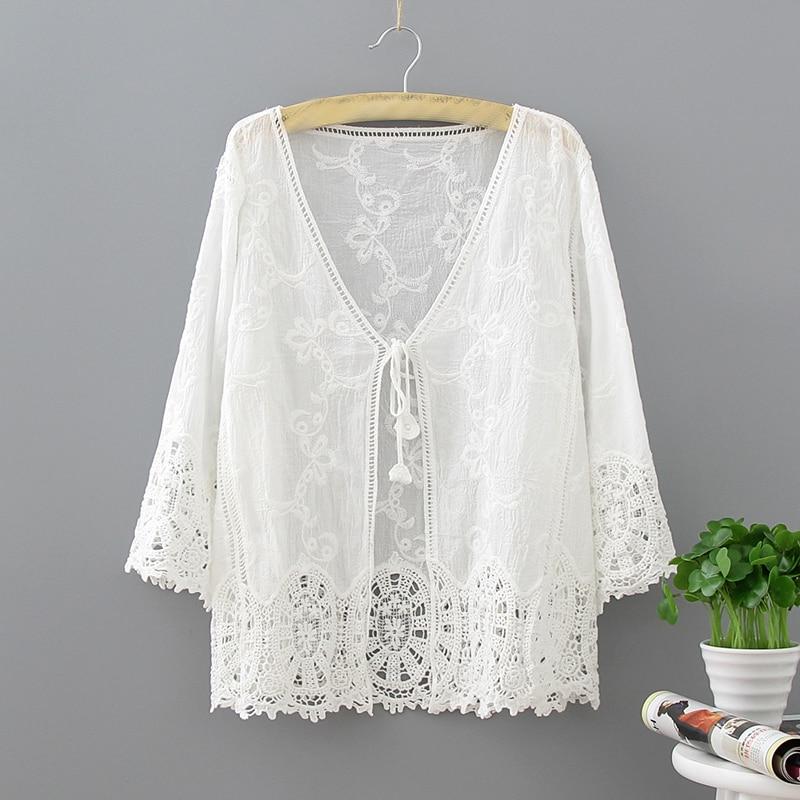 Japanese Vintage Retro Mori Girl Ethnic Boho Sweet Crochet Lace Bohemian Cardigan Women Summer Jacket Blouse Shirt Ladies Tops