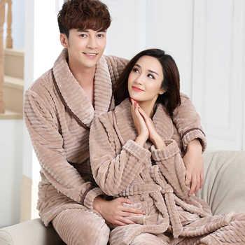Men and Women Home Clothes Winter Pajamas Suit Men\'s Flannel Set Lady\'s Robe Pajama Pant Set Home Wear Big Size Warm Couple Suit