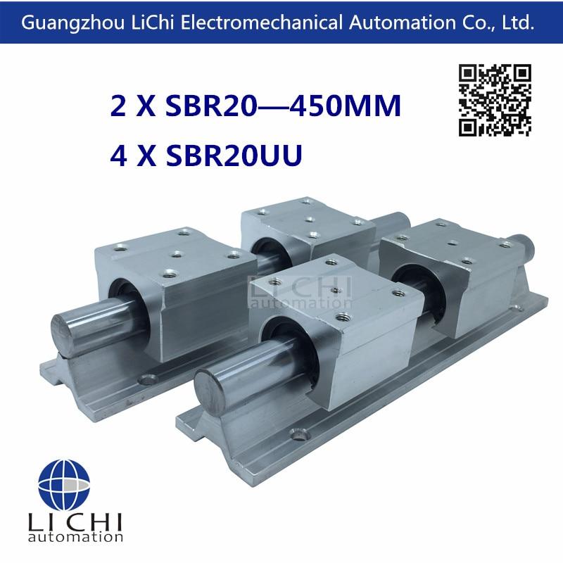 ФОТО Free shipping 2pcs SBR20- 450 mm Linear guides + 4pcs SBR20UU Linear Motion  Blocks (can be cut any length)
