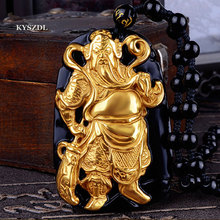 Gold-plated+ Natural Black Obsidian Carved guangong Lucky Amulet Pendant For Women Men pendants Jewelry gift все цены
