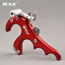 Buy online Wolf Stainless Steel 4 Finger Grip Caliper Release Aid in Red Color Archery Caliper Grip Release for Compound Bow Hunting