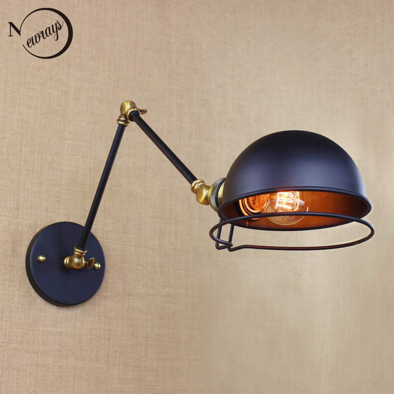 ФОТО industrial style antique retro black metal wall lamp swing arm wall lighting for workroom Bathroom Vanity 2 applies arm Tornado