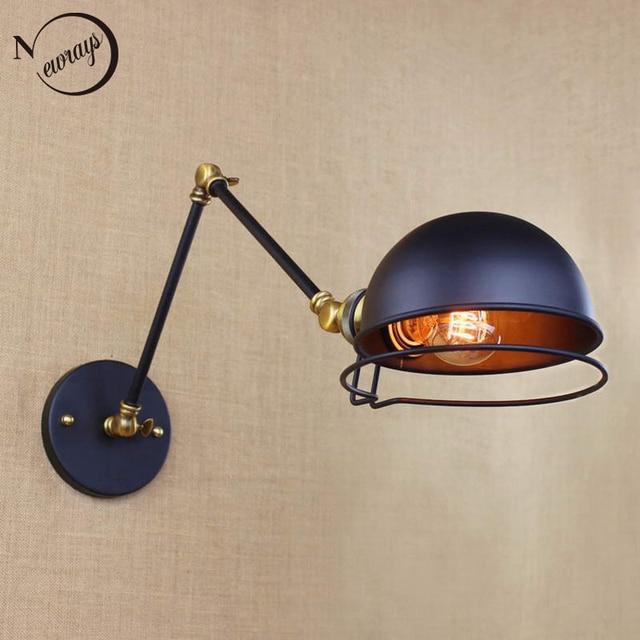 industrial style antique retro black metal wall lamp swing arm wall lighting for workroom Bathroom Vanity 2 applies arm Tornado