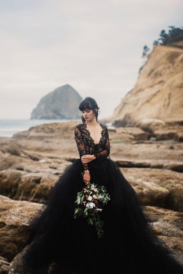2017 Wedding Dress Black Wedding Dresses Long Sleeve Lace