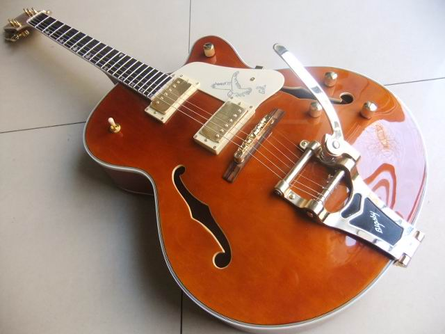 Wholesale Gre tsch 6120 Electric Guitar Semi Hollow Body electric guitar top quality in Brown 110123 top quality new semi hollow models telecaster single f hole wood color electric guitar 22