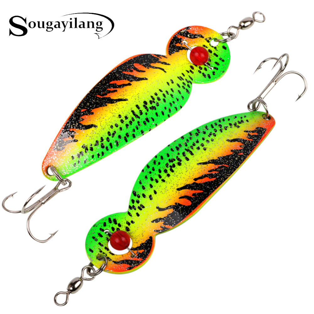 Sougayilang 15cm 30g Hard Fishing Lure Peche Ice Konstgjord sked Spinner Bait Forell Sea Swimbait Metal Lure for Fishing Tackle