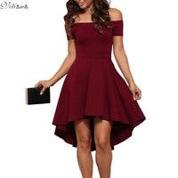 VITIANA Women Wine Black Solid Color Slash Neck A Line Dress Winter Style Off Shoulder Sexy