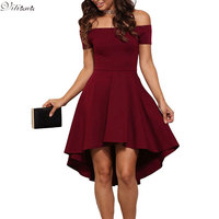 VITIANA Women Wine Black Solid Color Slash Neck A Line Dress Winter Style Off Shoulder Sexy