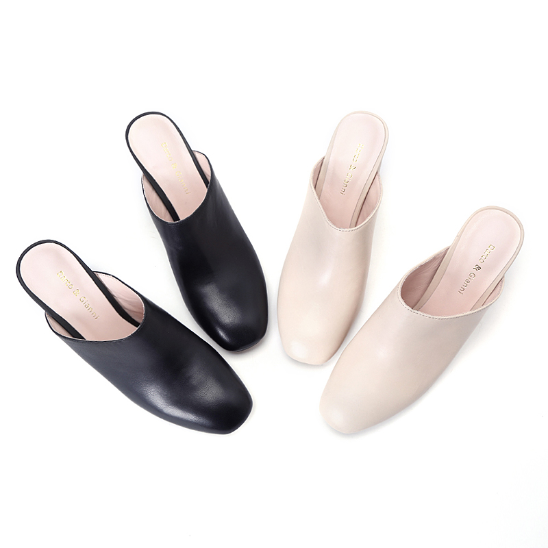 2018 summer Slippers Women Fashion metal decoration square heel Woman With Belt Loafers Mules Flip Flops pumps
