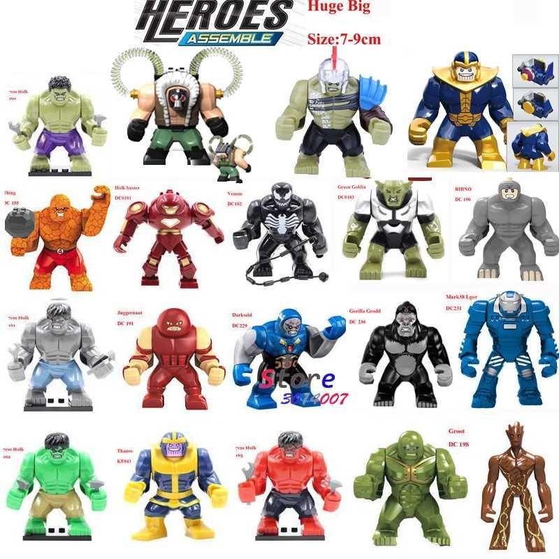 Única Venda Grande Tamanho Grande Super Heróis Ironman Hulk Venom Thanos Bane Dogshank Building Blocks Brinquedos para crianças