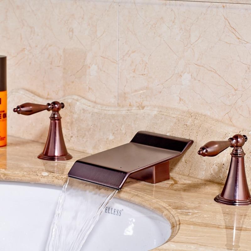 Newly Arrival Oil Rubbed Bronze Red Basin Bathroom Mixer Tap Three Holes Dual Handles Faucet Mixer