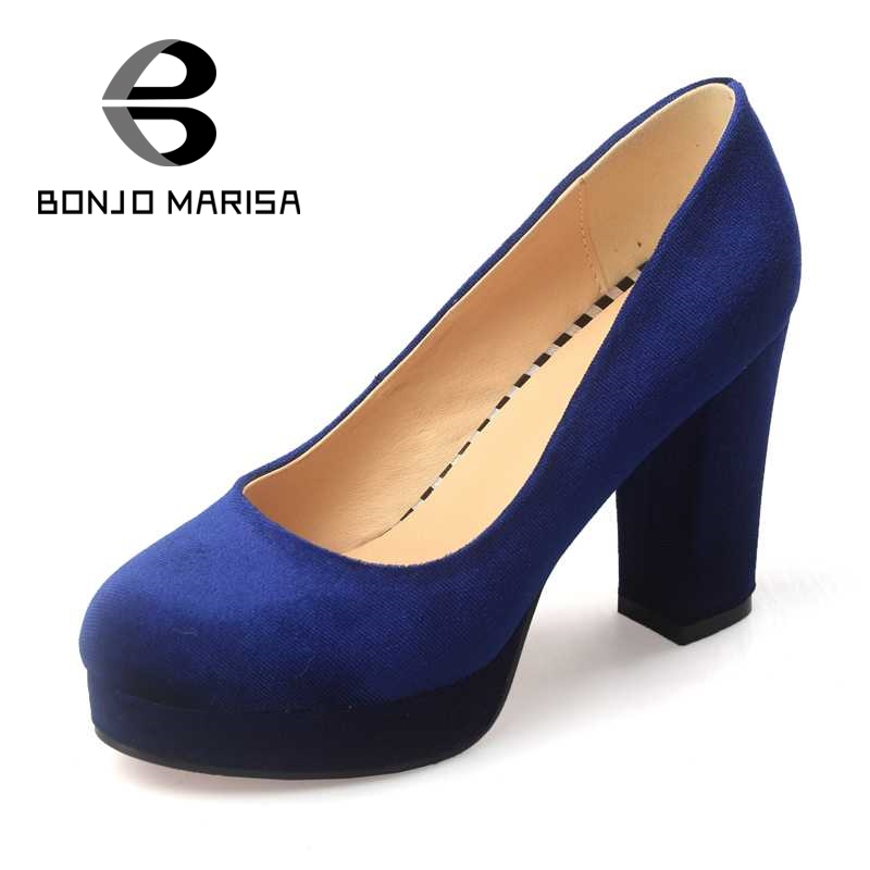 ФОТО BONJOMARISA Women Square High Heel Shoes 2017 Vintage Woman Slip On Round Toe Platform Pumps Big Size 33-43 Office Ladies Shoes