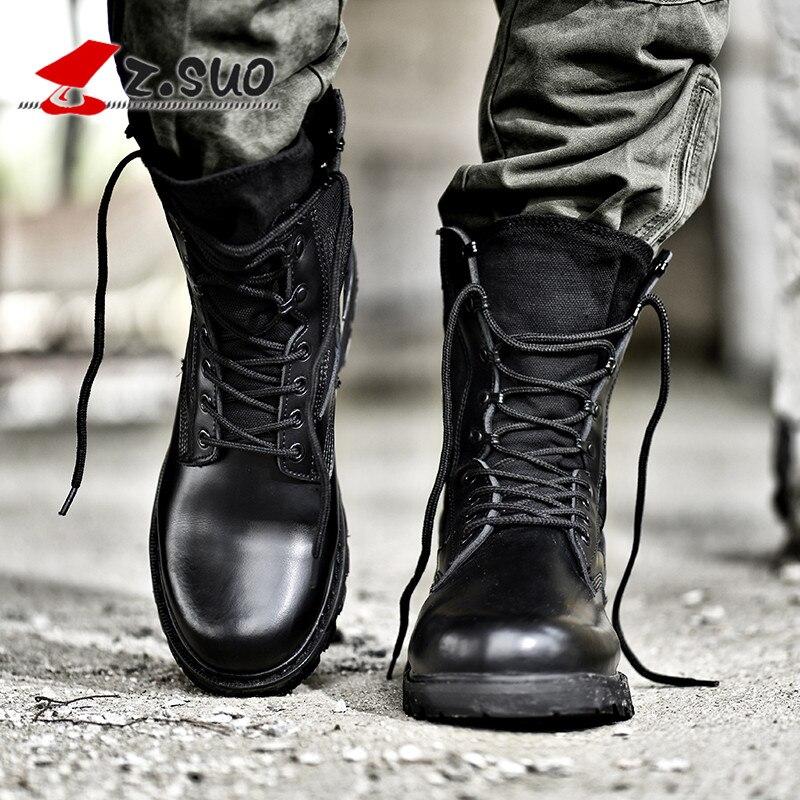 Z Negro Del Botas Zapatos Alta Genuino Militares De Cuero Suo Tácticas Ejército Mujeres Calidad rqAPr8