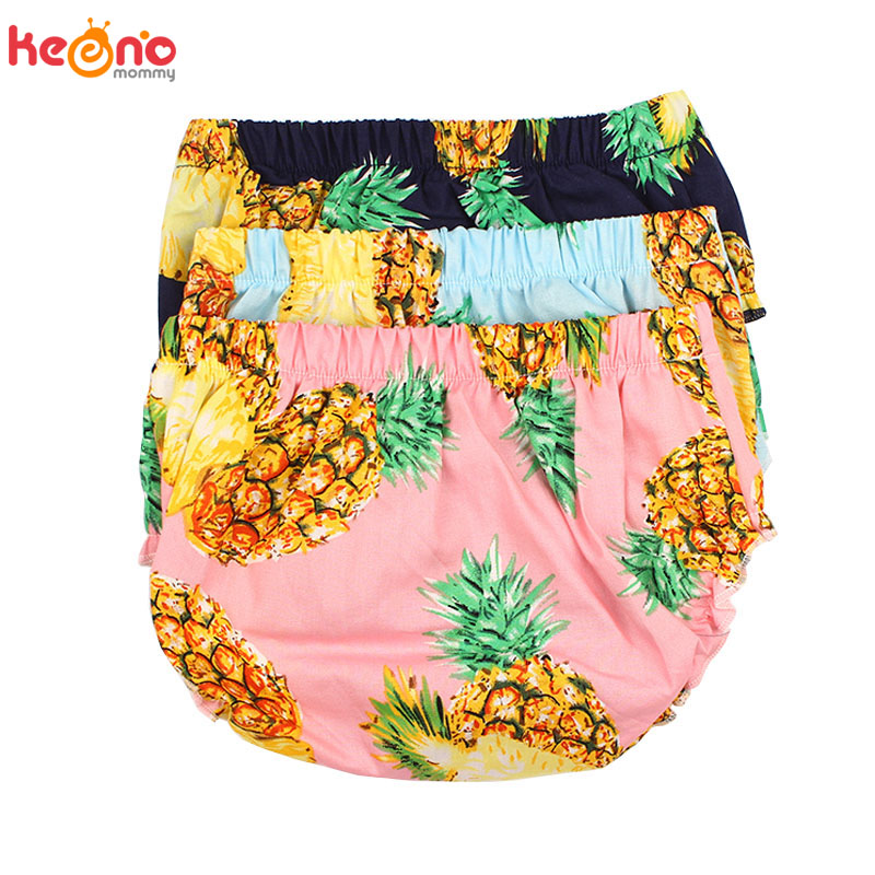 Pineapple Print Baby Bloomers Organic Cotton Baby Boy Girl Diaper Covers Toddler Bubble   Shorts   Summer Baby Sun Clothing