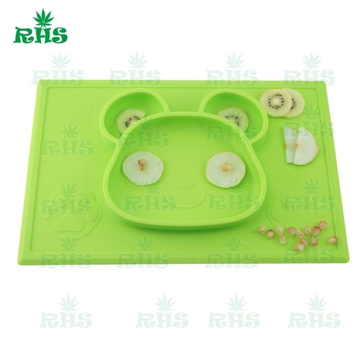Self Suction Սննդի դասարան Silicone Baby Placemat Plate - - Պահեստավորման եւ կազմակերպումը ի տան - Լուսանկար 1