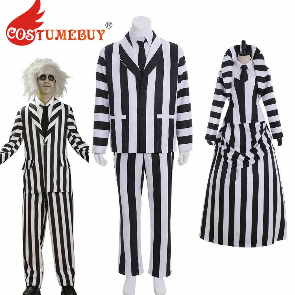 Costumebuy Movie Beetlejuice Cosplay Costume Adult Mens Beetlejuice Unifrom Suit Women Medieval Black White Stripe Dress L920 Aliexpress