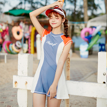 Sexy High Neck Swimwear 2019 New Arrival Stitching letter print Skirt One piece Swimsuit Slim fit Women Bathing Suits new arrival one piece swimsuit skirt slim sexy lace swimming pools wave pure colors swimwear hot spring bodysuits girls 7628