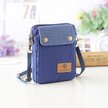 New Casual Men Women Canvas Shoulder Bags Small Mobile Phone Bags