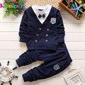 Keelorn мальчика одежда 2017 Осень Повседневный стиль одежда для новорожденных наборы лук красивый отворот с короткими рукавами спортивный костюм детей