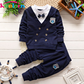 Keelorn baby boy clothes 2017 Autumn Casual style baby clothing sets bow handsome lapel short-sleeved track suit children